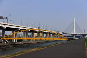 かつしかハープ橋の手前に見える黄色い歩道橋