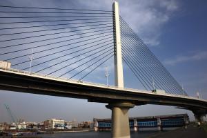 首都高中央環状線が綾瀬川を渡るかつしかハープ橋は曲がりながら架かる斜張橋