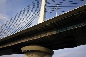 最近良く見かける斜張橋のかつしかハープ橋を今まさにくぐろうとしている
