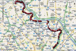 隅田川ウオーキングその1の地図をホームページのギャラリーに掲載