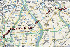 2009年5月4日に歩いた蔵前橋通りの写真を地図に貼り付ける