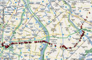 今度は2009年5月9日に日本橋から市川まで新大橋通り経由で歩いた地図が完成