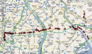 京葉道路経由の日本橋、市川のウオーキング地図を1つにまとめた