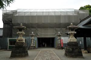 改修中の鑁阿寺本堂