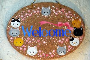 可愛い猫のウエルカムボード