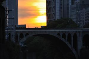 昌平橋から聖橋の夕焼け