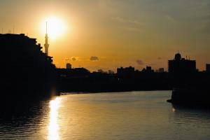 奥戸橋から夕方の中川の東京スカイツリーと富士山