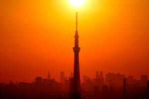 太陽がスカイツリーの真上を過ぎる