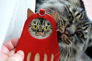 Dalma shaped pass case with embroidered cat