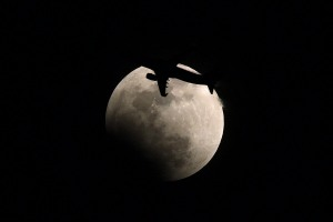 Lunar eclipse and plane