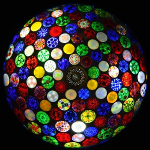 Stained glass shade of table lamp